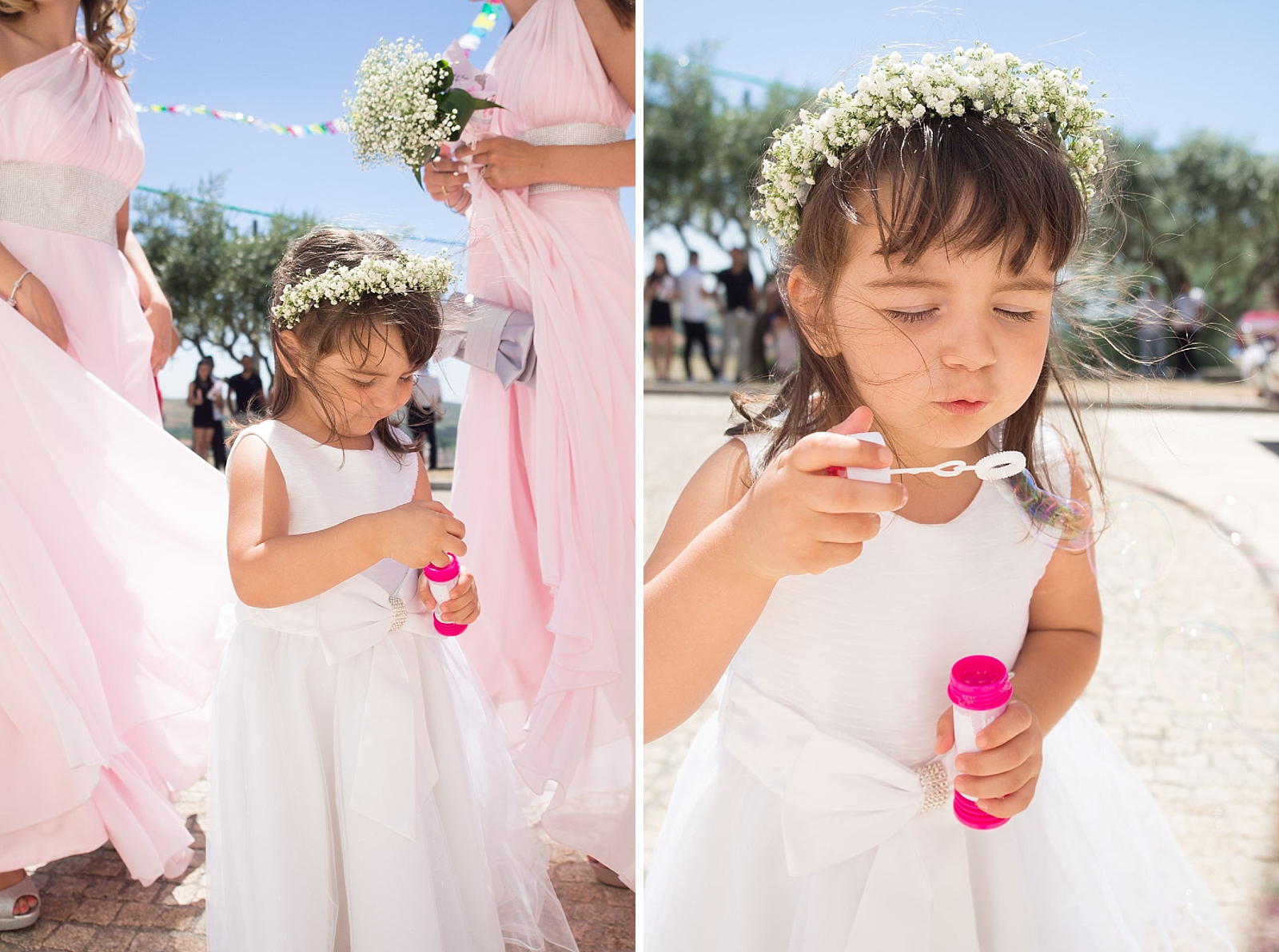 Portrait d'un enfant qui fait des bulles de savon entouré de demoiselles d'honneur