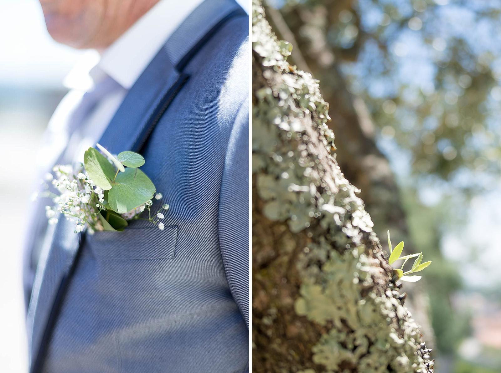 Diptyque boutonnière du père de la mariée et branche d'olivier
