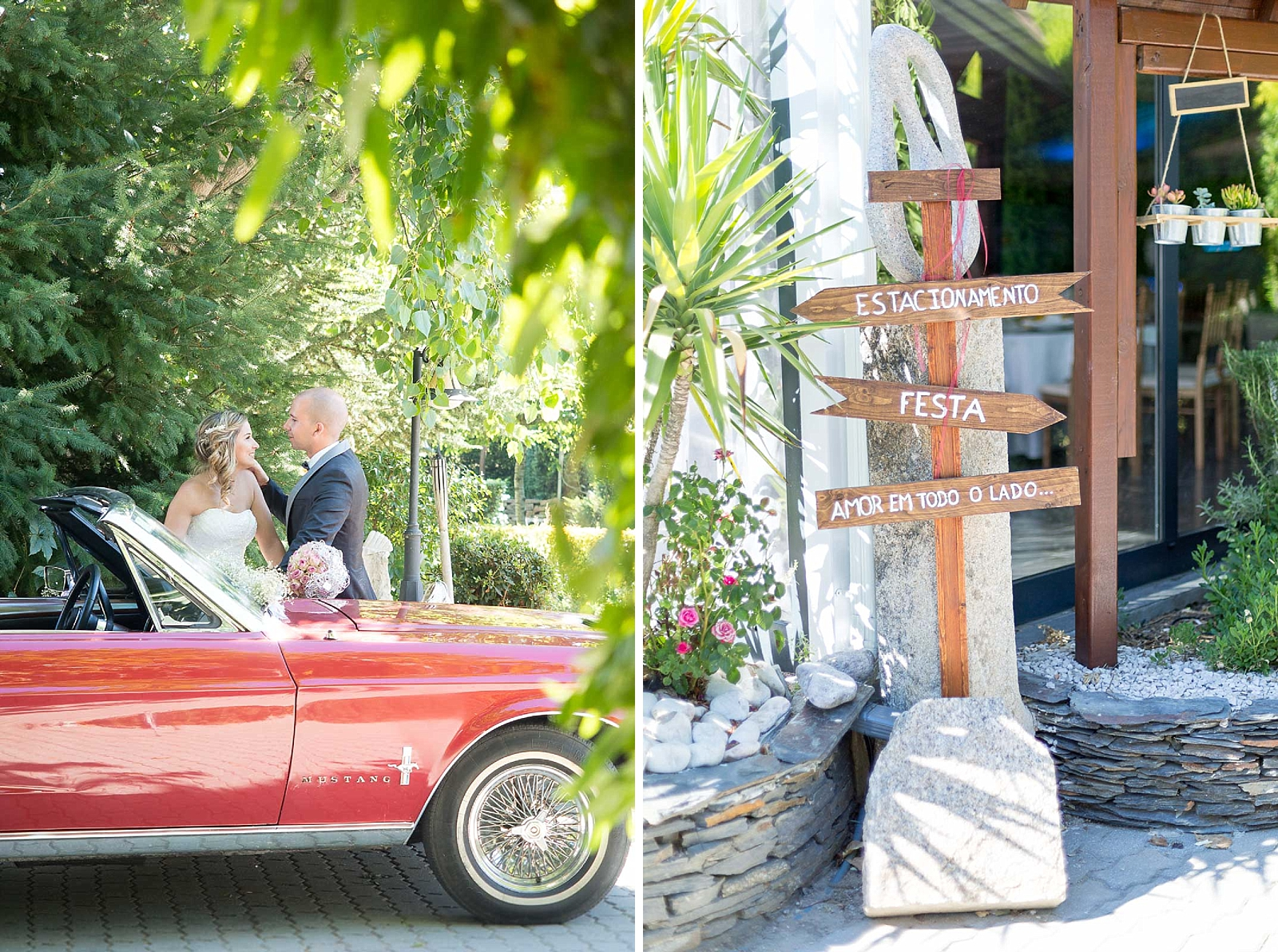 Mustang 1967 rouge et panneau d'orientation mariage en bois