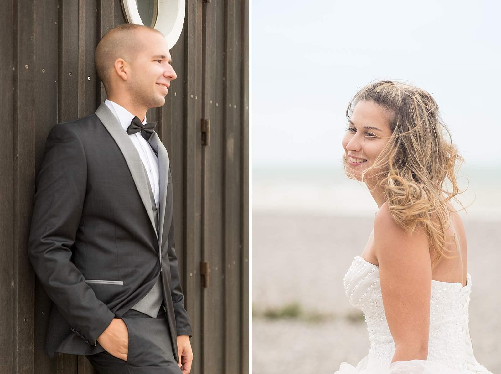 diptyque portrait du marié et de la mariée