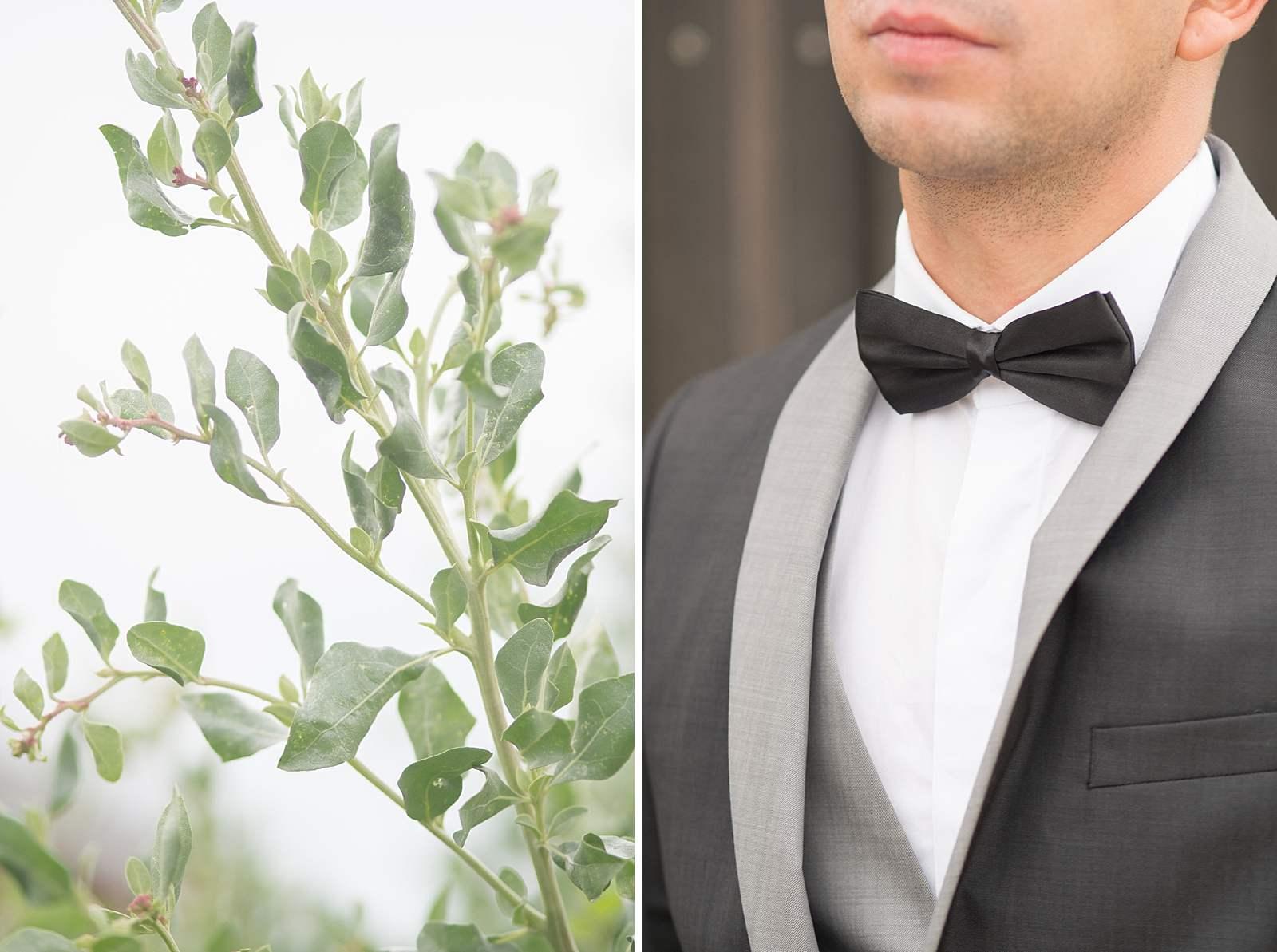détails sur le costume de mariage du marié. costume gris foncé et noeud de papillon noir
