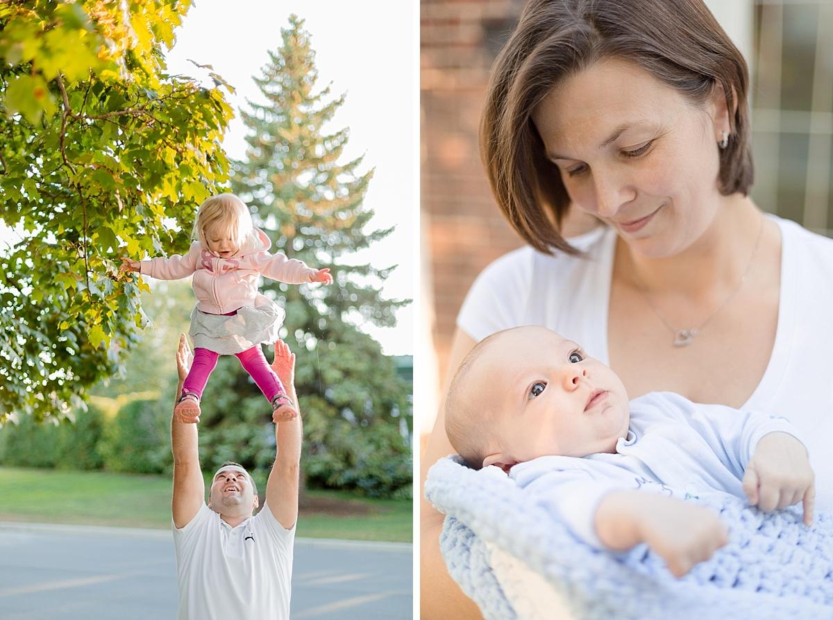 Diptyque, Papa joue avec sa grande fille pendant que mama verse son bébé. une journée en famille au canada