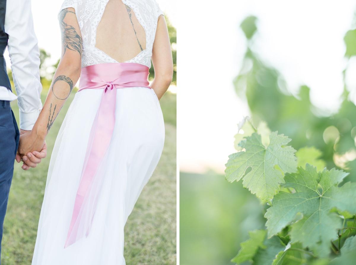 details de robe de mariage, mariées tatouée
