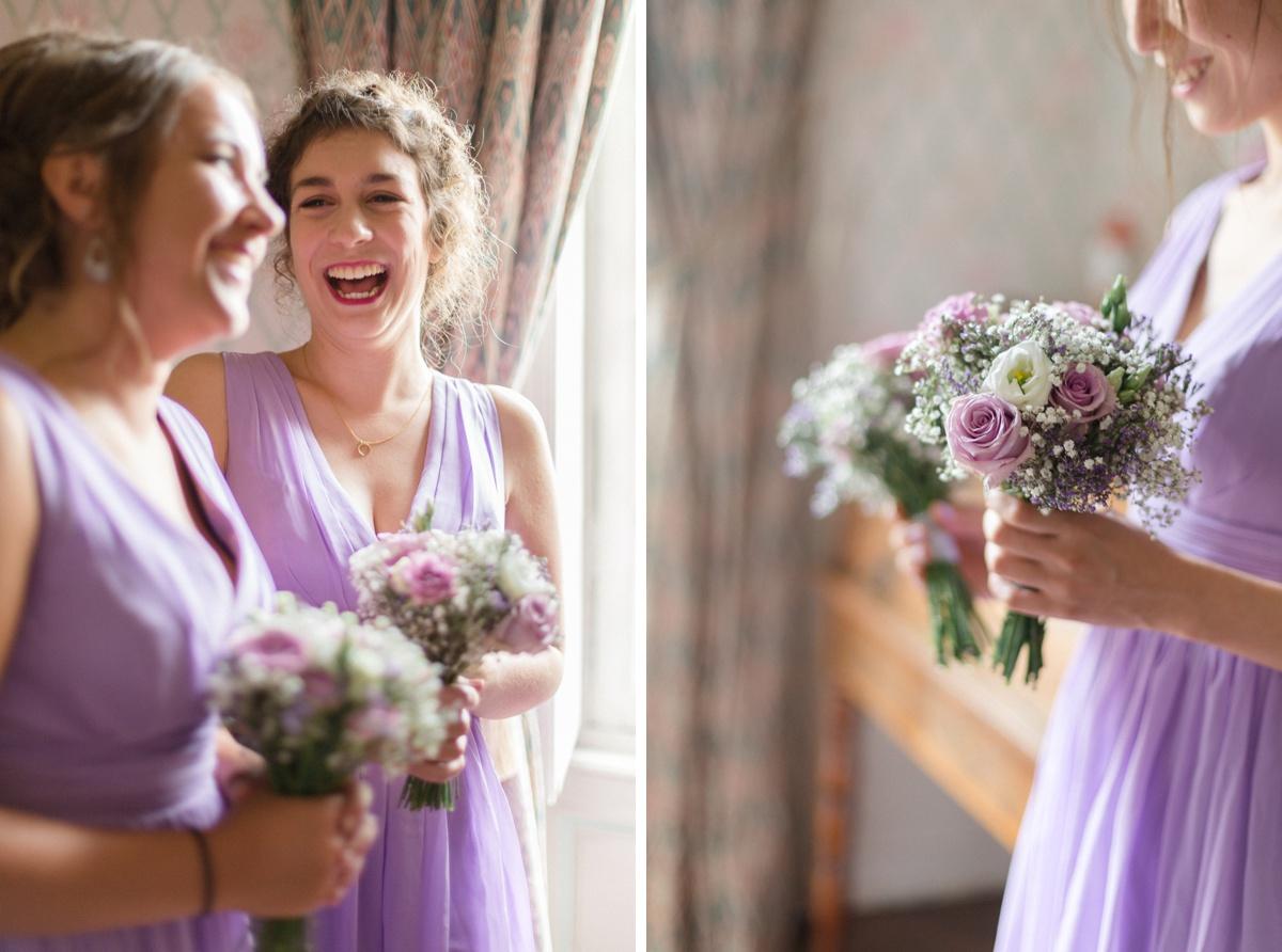 préparatifs de mariage. robes demoiselles d'honneur parme