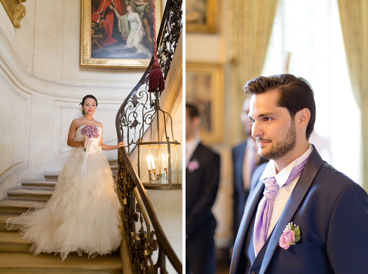 entrée de la mariée. first look mariage , escaliers château