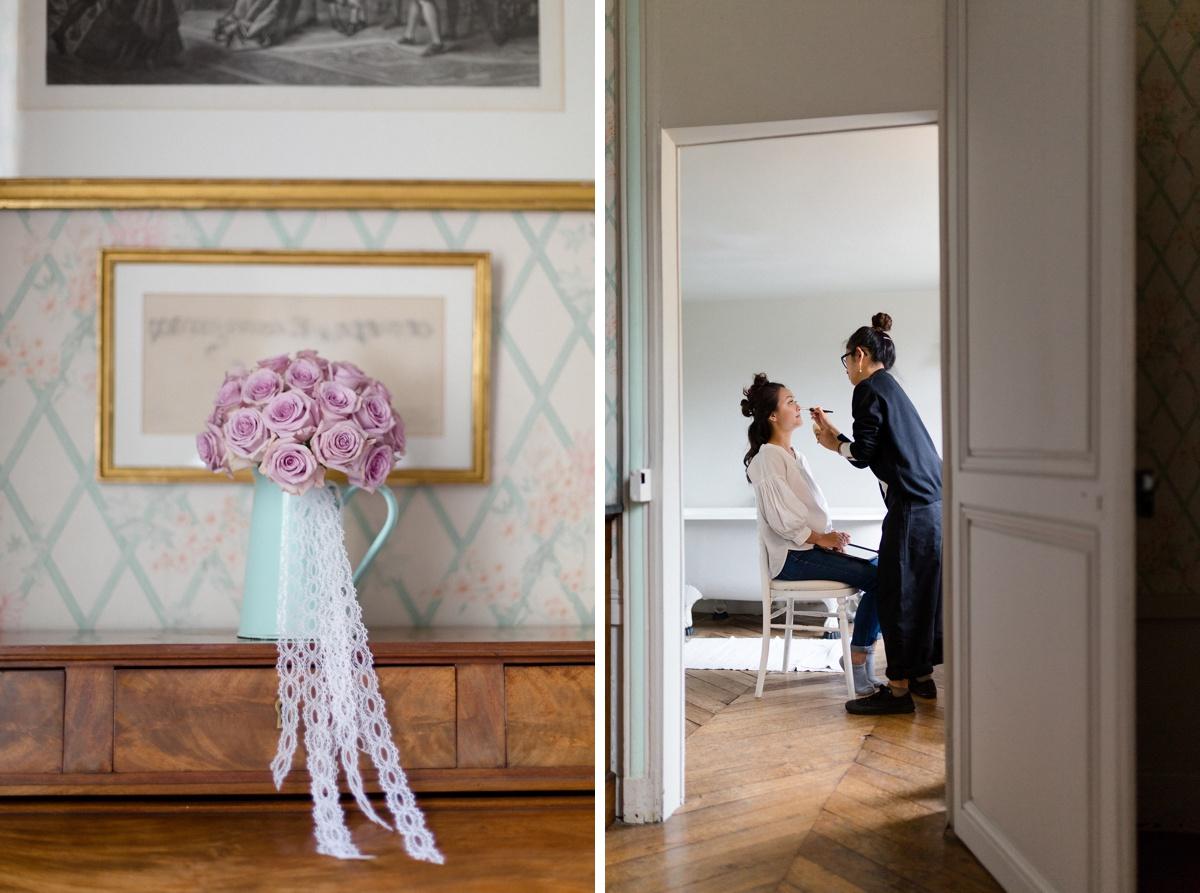 """bouquet de mariage par """"au jardin d'egly"""", préparatifs de la mariée Château de champlâtreux"""