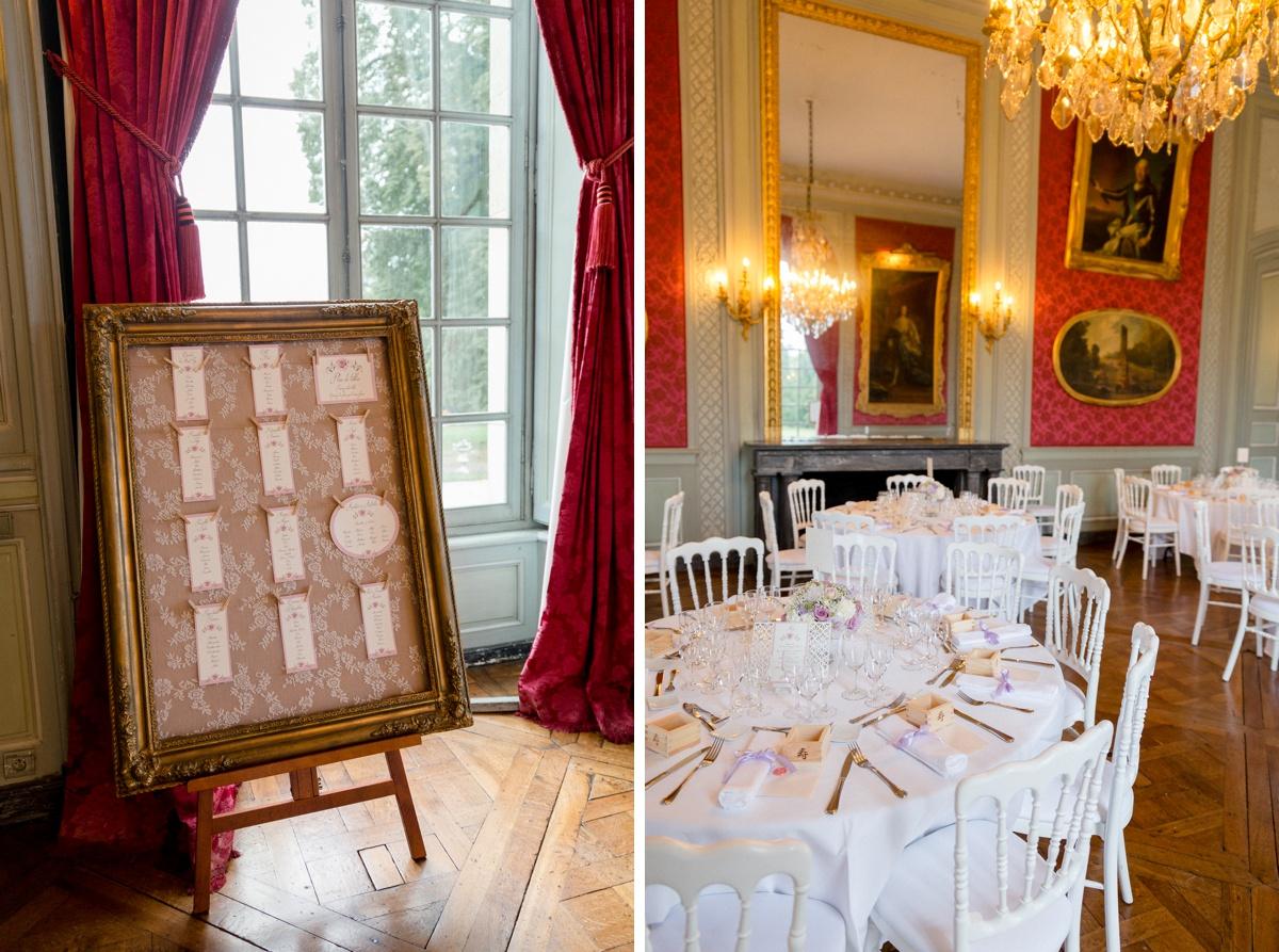 décoration mariage inspiration romantique. table de mariage. plan de table. mariage château Paris
