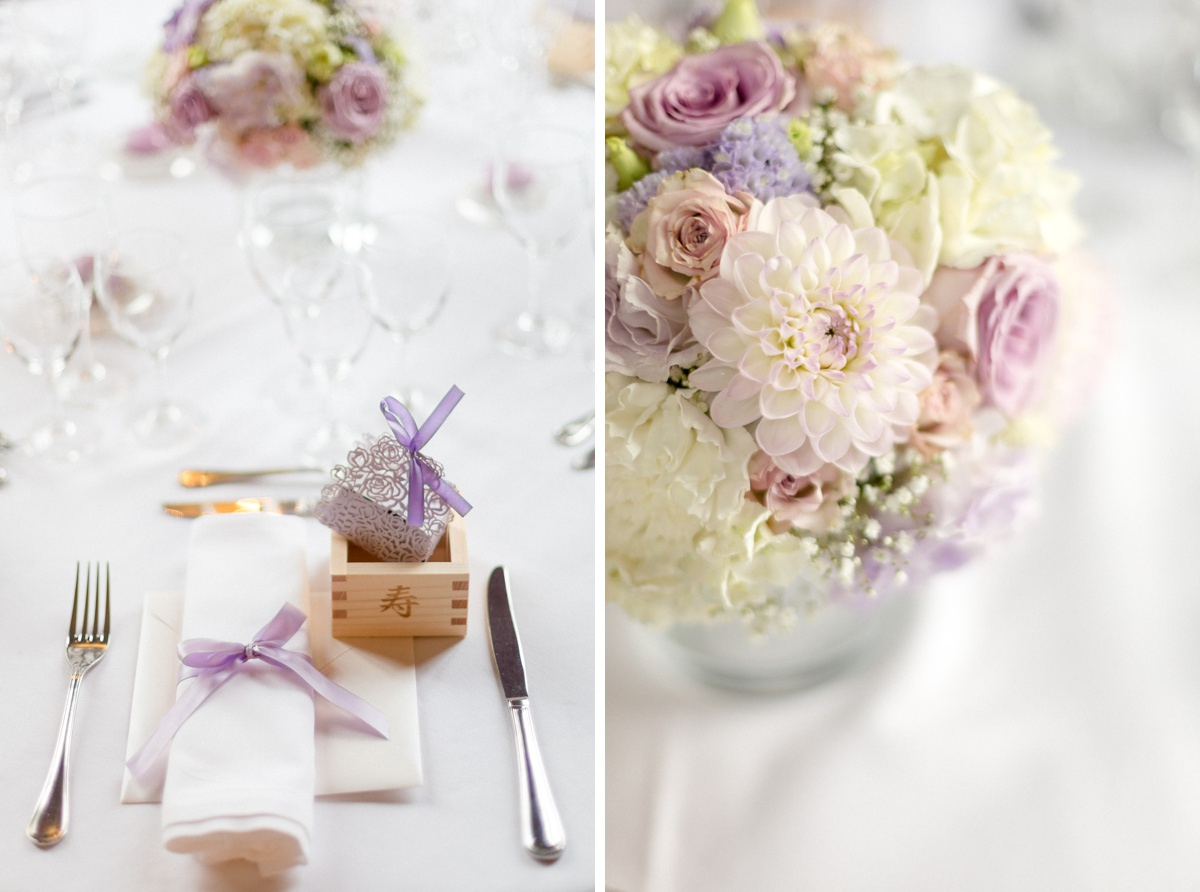 Bouquet couverts table mariage