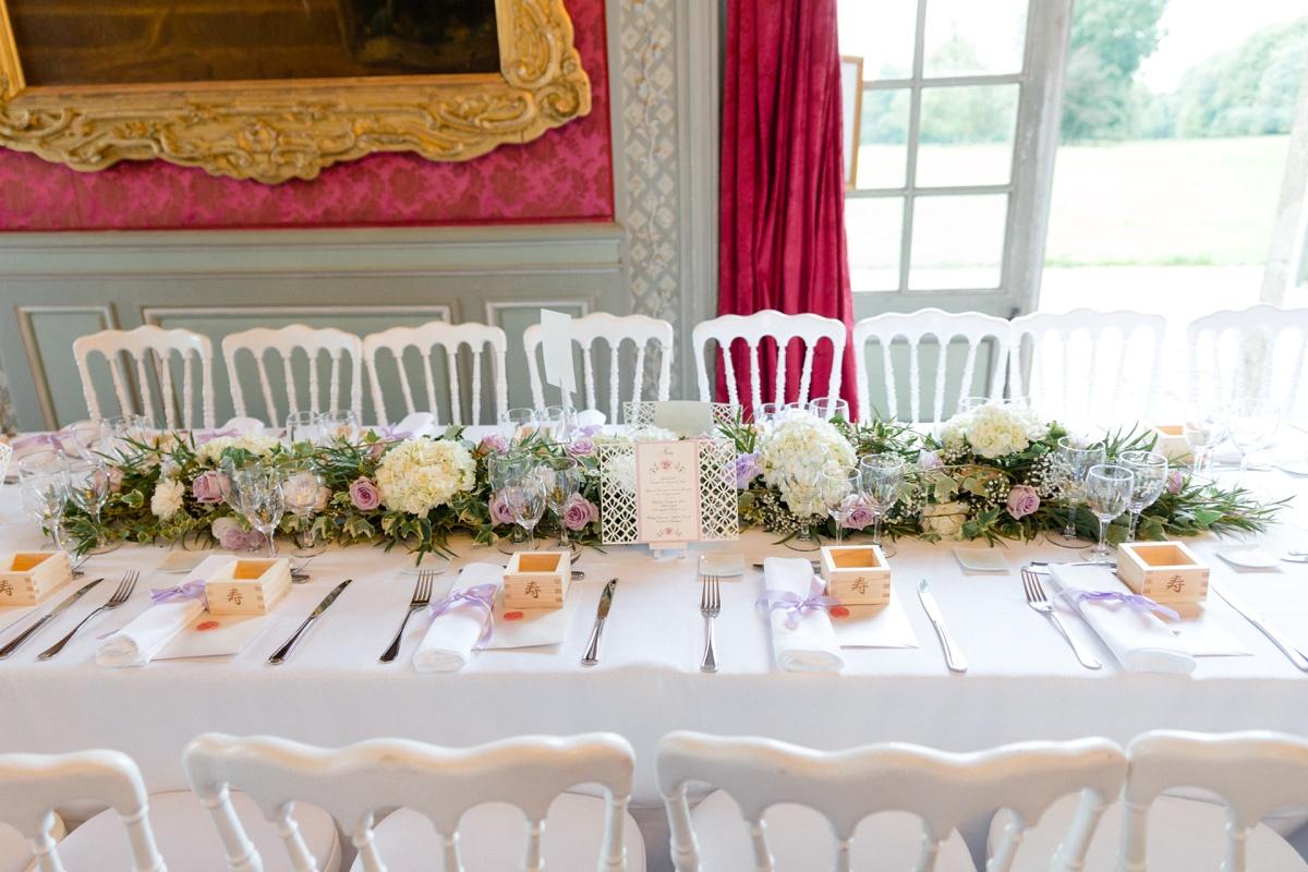 décoration florale table des mariés. inspiration mariage château