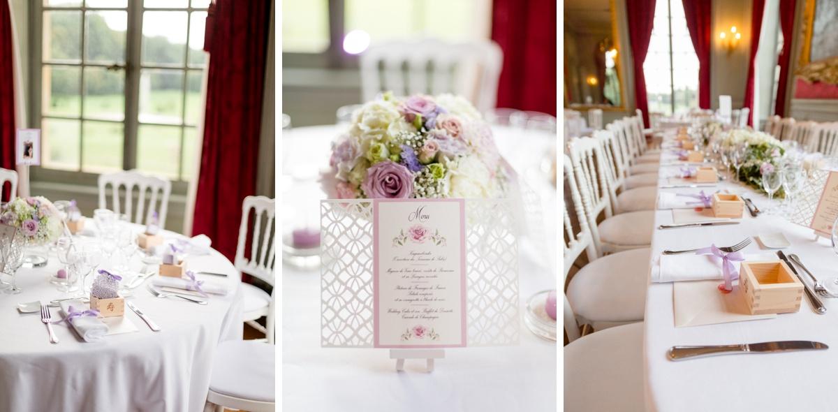 Inspiration mariage. plan de table, menu, mis en place. thème champêtre. couleur parme