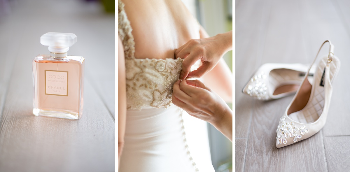 détails mariage - parfum chaussures robe