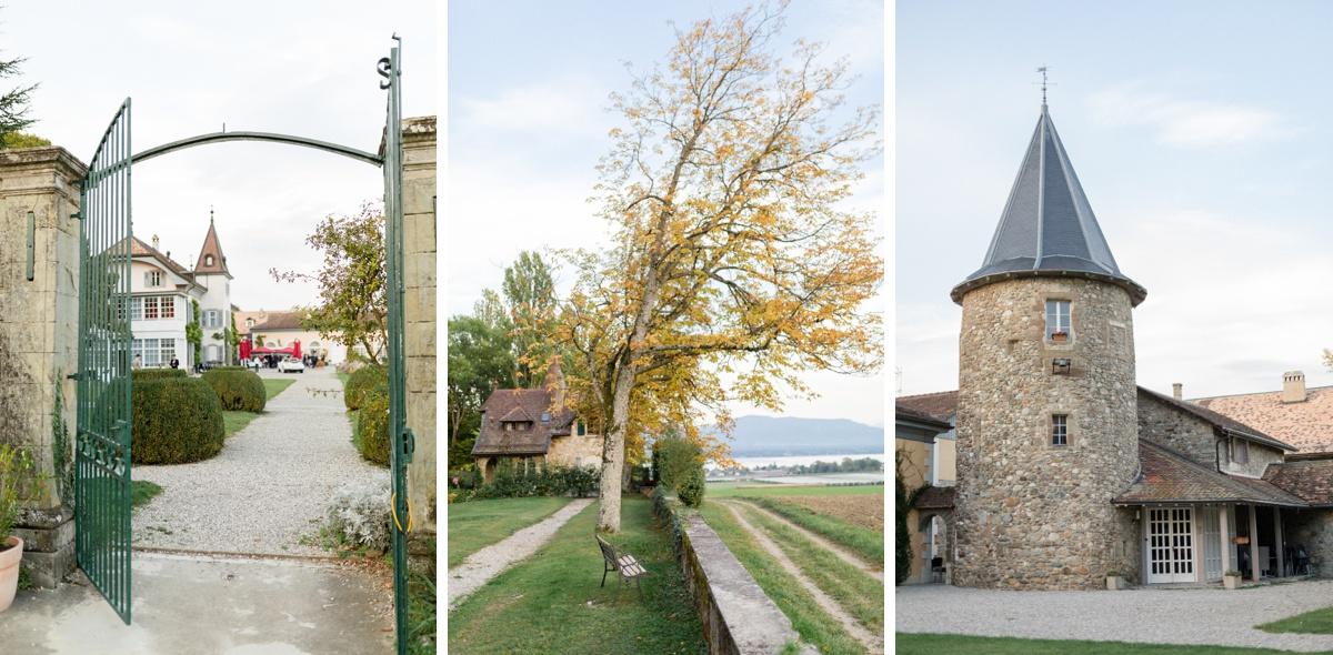 Vues détaillées du château de Bossey. grille et tourelle du chateau