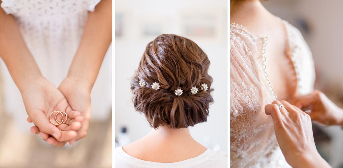 Alliances Orfelis coiffure et détails de la robe de mariage Jenny Packham