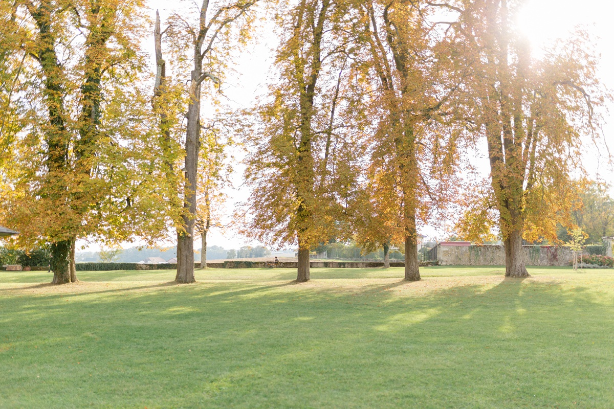 Jardins du château de Bossey avec contrejour dans les arbres