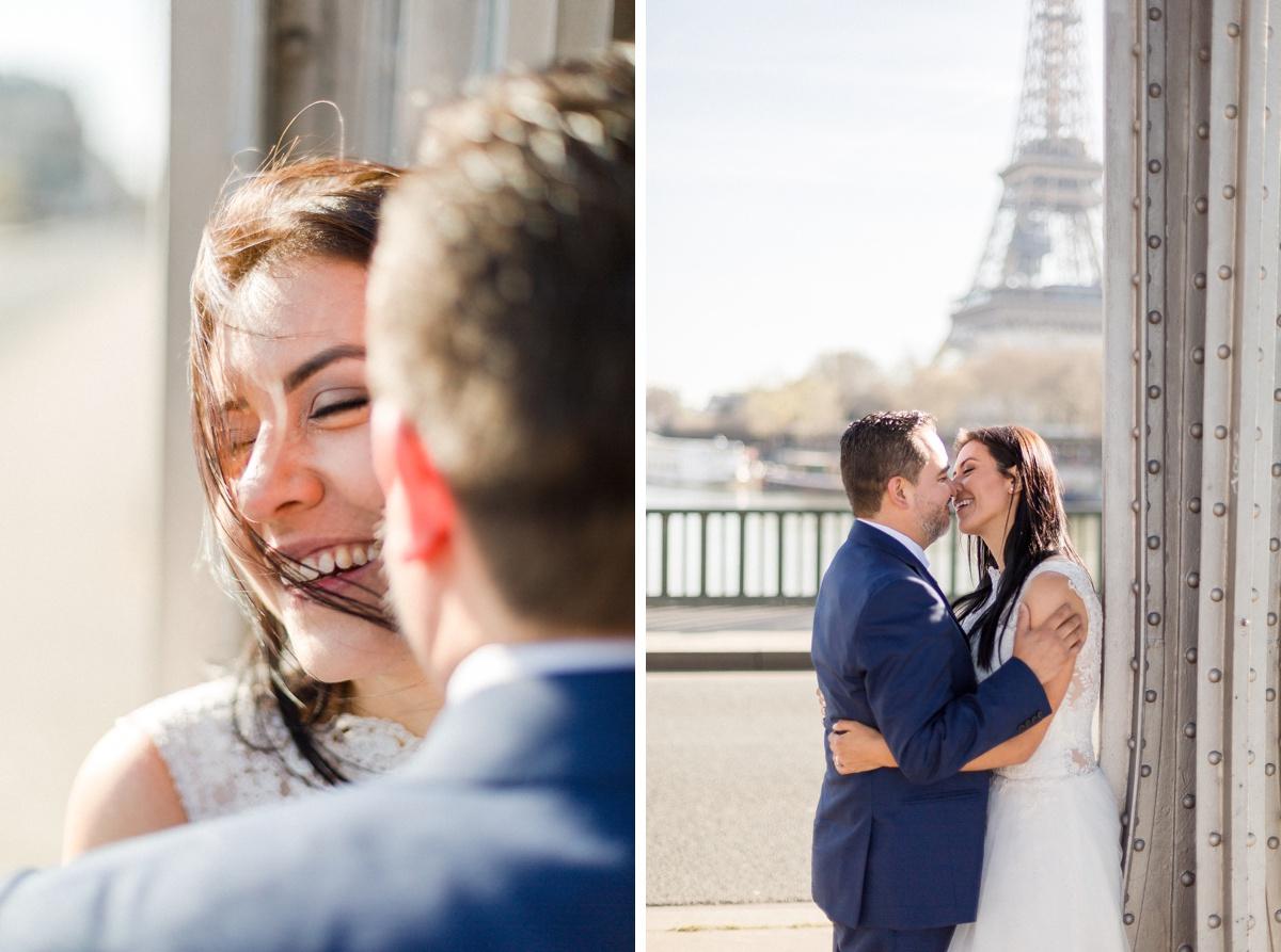 photographie mariage baiser des mariés pont Bir-hakeim et tour eiffel