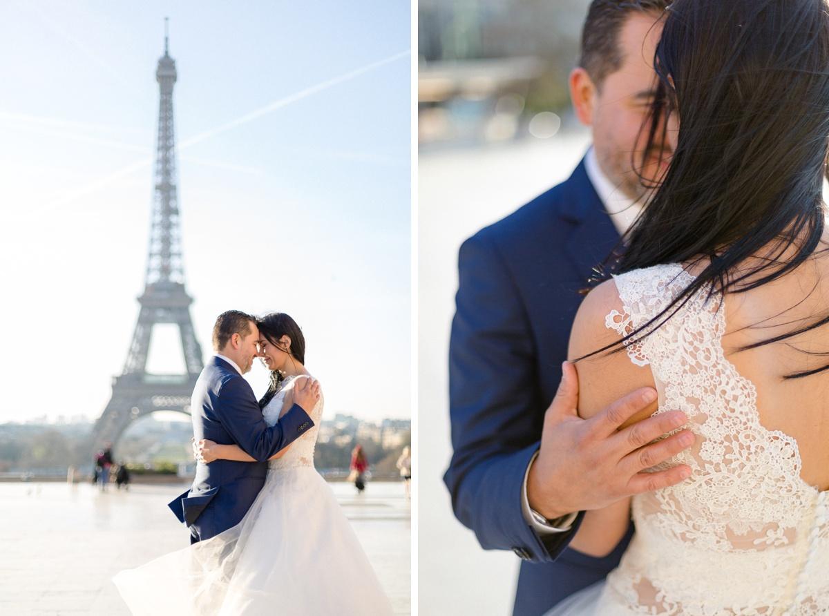 séance photo couple de mariés face à la tour Eiffel et détails de la robe