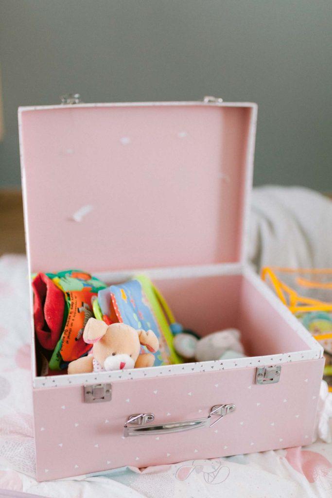 Cadeau de naissance pour nouveau né fille. Boite rose contenant des peluches et livres pour bébé